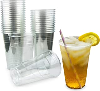 [100 Pack] 20 oz BPA Free Clear Plastic Cup - Iced Cold Drink Coffee Tea Juice Smoothie Bubble Boba Frappucino, Disposable, Large Size, No Lid