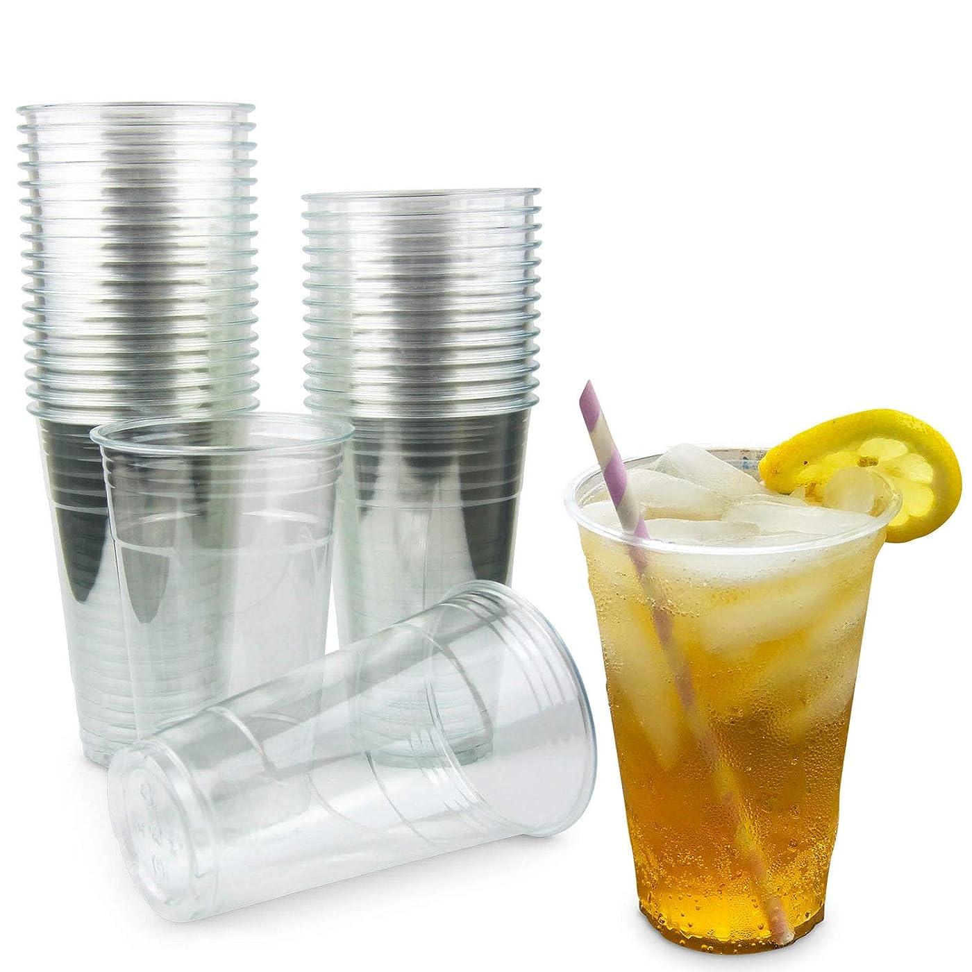 なすとまり木未亡人20オンス クリアプラスチックカップ - アイスドリンクコーヒー ティー ジュース スムージー バブルボバ フラッププシノ 使い捨て Lサイズ ふたなし [100パック]