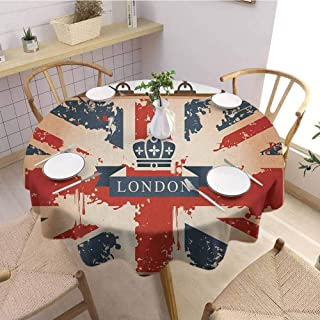 DILITECK Union Jack Picnic Round Tablecloth Vintage Travel Suitcase with British Flag London Ribbon and Crown Image Table Decoration Diameter 36