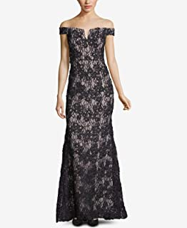 Womens Gown Glitter Floral Lace Off The Shoulder Black 12