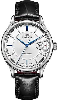 マービン スイス 自動巻き メンズ 腕時計 ラグジュアリー C.O.S.C.クロノメーター 腕時計 ステンレススチール ドレスウォッチ White/Blue/Black