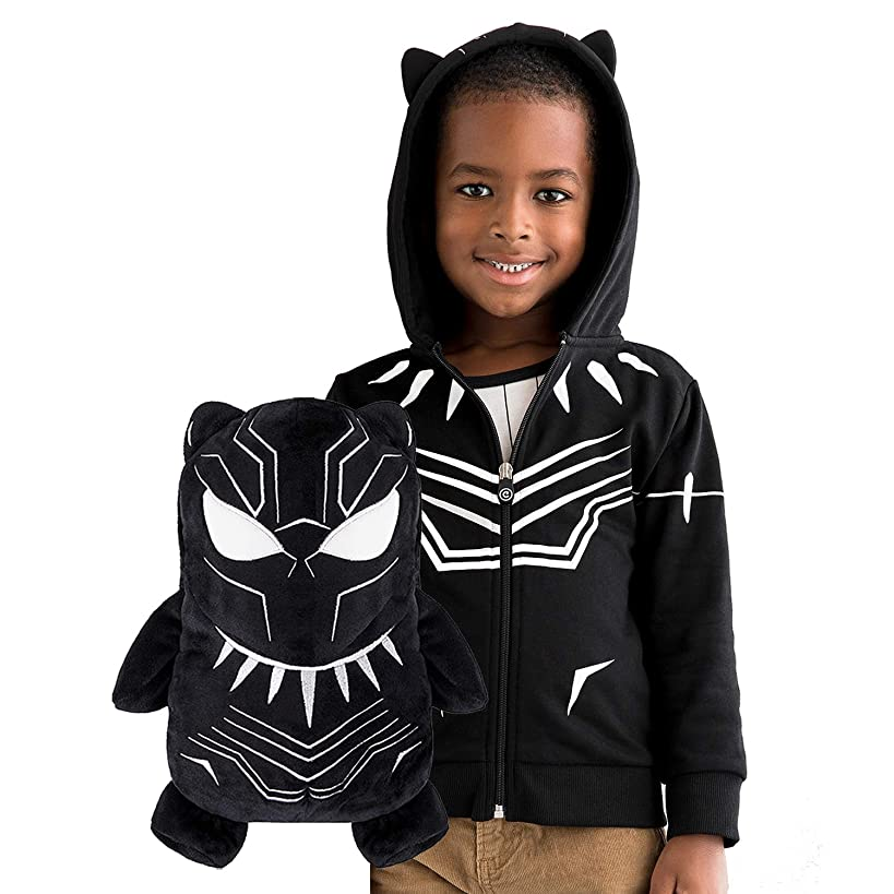 CUBCOATS Black Panther - 2-in-1 Transforming Hoodie & Soft Plushie - Black with White Accents