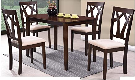 Wooden Dining Table Set with 4 Chairs, Brown