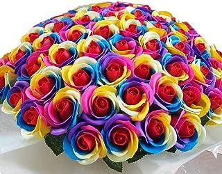 お好きな本数 ソープフラワー花束 レインボーローズ ビビット(b) 108本 虹色 レインボーブーケ 誕生日 記念日 告白 プロポーズ 結婚 お祝い シャボンフラワー 造花