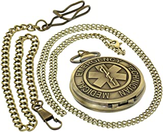 Retro Antique Emergency Medical Technician Sewing Color Dial Quartz Pocket Watches Pendant Men Women with 1 PC Necklace Chain 1 PC Clip Key Rib Chain Japan Quartz Analog Fob Watches Gifts
