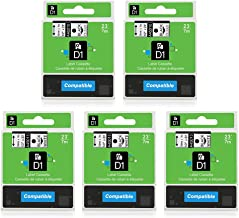 5-Pack Replace D1 Label Tape D1 45013 45010 Black on White/Clear 1/2'' W x 23' L Compatible with DYMO LabelManager 160 LabelManager 280 LabelManager 360D