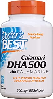 Doctor's Best DHA 500 with Calamarine, Non-GMO, Gluten Free, 500 mg, 180 Softgels
