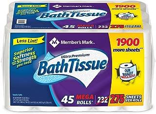 Member's Mark Ultra Premium Bath Tissue, 2-Ply Mega Roll (275 sheets, 45 rolls) - (Original from manufacturer - Bulk Discount available)