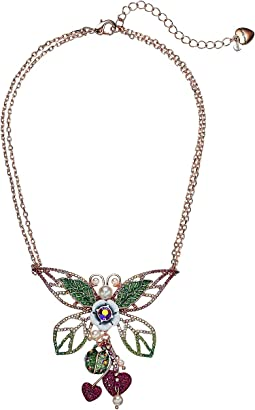 Betsey Johnson Colorful Pink and Green Tonal Butterfly Pendant Necklace