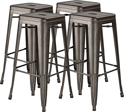 Gunmetal Gray by SafeRacks 4 Pack Steel 24 Hercke 24 Stacking Metal Bar Stool Kitchen Island Counter Industrial Indoor Outdoor Backless Chair