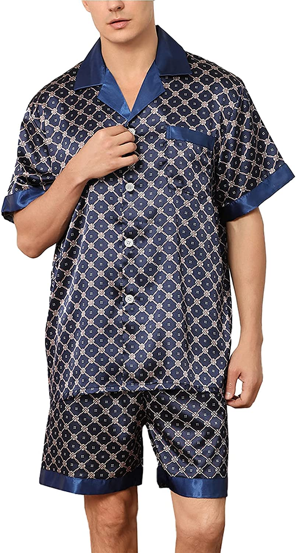 FMOGG Mens Plaid Pyjamas Set 100% Satin Short Sleeve Button Down Top & Bottoms Pjs Loungewear Sleepwear