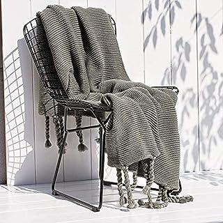LXX Colcha de poliéster Sofadecke Pompones Flecos, Cubierta de sofá nórdico cubrieron el Almuerzo de Oficina ruptura Manta Manta Sencilla, Aire Acondicionado para Habitaciones en Casas,Gris,1.