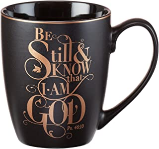 """Christian Encouragement Gifts for Women– Matte Black Coffee Mug w/Metallic Font Scripture Verses """"Be Still and Know That I..."""