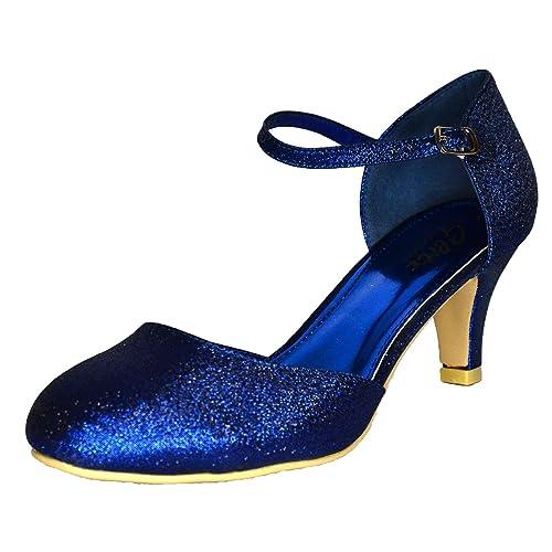 512ed43283e2 Womens Glitter Low Kitten Heel Shoes Mary Jane Ankle Strap Pumps Dress  Sandals Size 3-