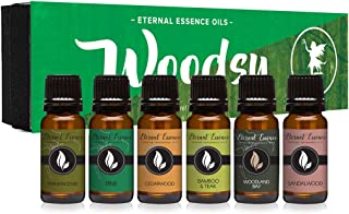 Woodsy Gift Set of 6 Premium Grade Fragrance Oils - Frankincense, Pine, Cedarwood, Bamboo & Teak, Woodland Bay, Sandalwood - 10Ml - Scented Oils