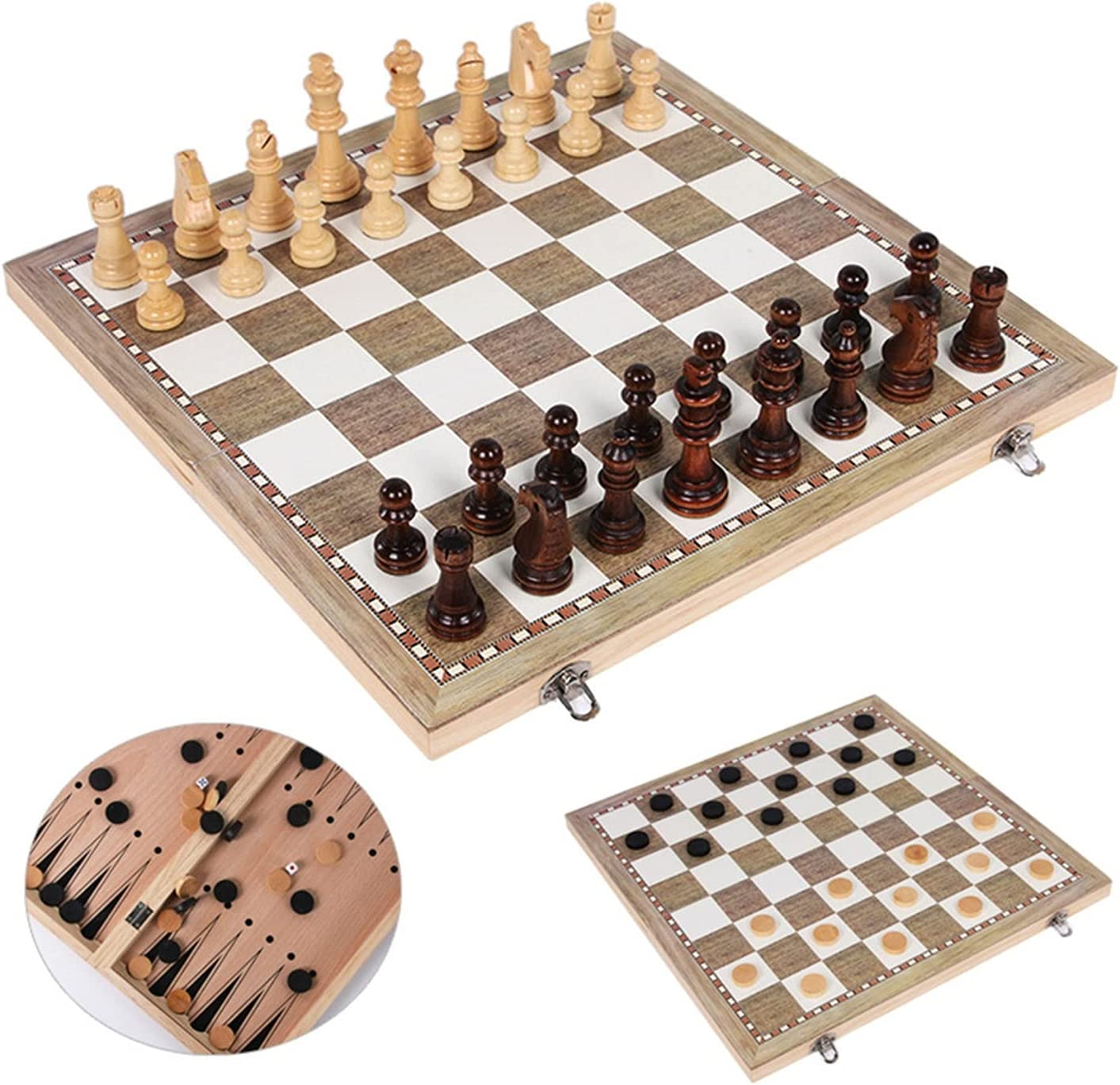 Wooden Backgammon Checkers New life Chess Set 3 1 in C Time sale Travel Game
