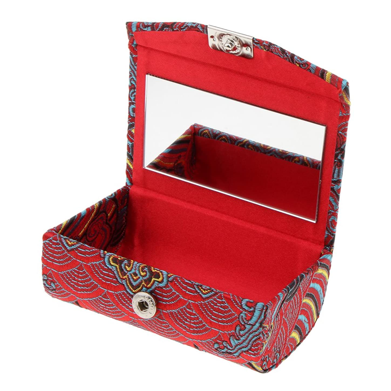 ベテランのヒープ守るHomyl ミラー付き 刺繍 ジュエリー メイクアップ リップスティックホルダー 収納ケース 口紅ケース プレゼント 多色選択 - クラレット