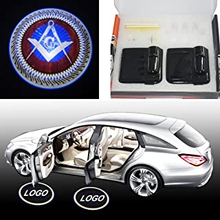 Spoya Mason Masonic square Wireless Magnetic Car door step LED welcome logo shadow ghost light laser projection projector light