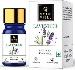 Good Vibes 100% Pure Lavender Essential Oil, 5 ml Naturally Detoxifies and Rejuvenates Skin, Stimulates Hair Growth, Suita...