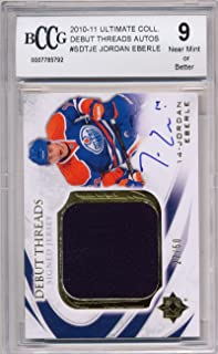 2010-11 Ultimate Collection Debut Threads Autograph /50#SDTJE Jordan Eberle Rookie Card Graded BCCG 9 * 792