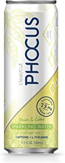 Phocus Caffeinated Sparkling Water, Yuzu & Lime, 11.5 ounces, 12-Pack