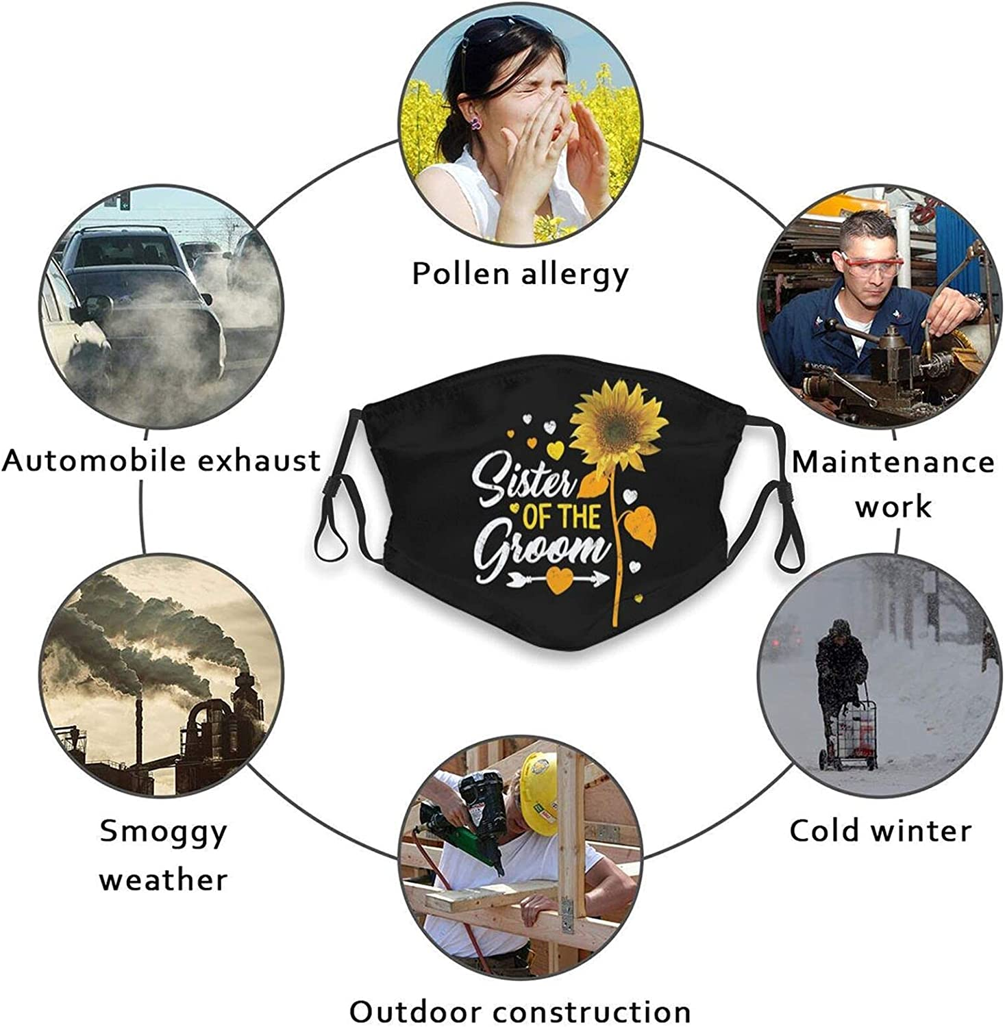 Wedding Groom and Bride Face Mask for Adults Washable Comfortable Adjustable Reusable Bandanas Balaclava with 2 Filters