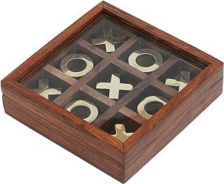 SouvNear Tic Tac Toe Juego Tablero con metal piezas - de madera - cerebro Juego - regalo Para Los Niños