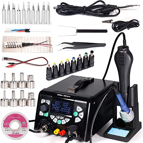 YIHUA 853D 5A-II Professional Soldering, Rework, and Power Supply Station Bundle with #2300 Hot Air Nozzles with Iron Holder, Cleaning Kit, and Accessories (39 Items)