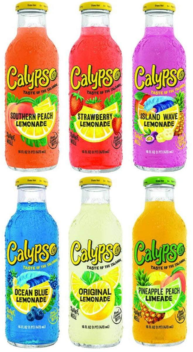 Calypso Lemonades 16 Ounce Glass Direct sale of manufacturer Bottles 6 Pack Light 4 Cheap mail order shopping Flavor