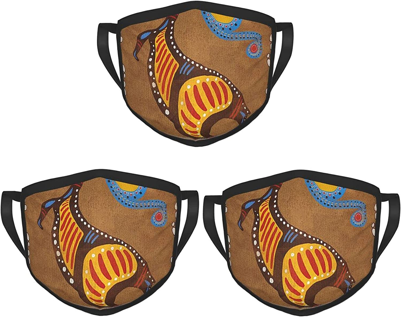 Balaclava Earmuffs Australian Indigenous Aboriginal Petroglyphs Elk Kangaroo Face Mouth Cover Mask Reusable Windproof Scarf Towel Cover Headwrap