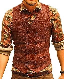 Men's Formal Groomsmen Double-Breasted Suit Vest Wool/Tweed Slim Fit Waistcoat Wedding Vest