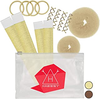 Hawwwy 12-piece Hair Bun Maker, Easy Fast Bun Tool Best Sellers Kit Short Long Full Thin Hair Women Girls Kids Toddler Per...