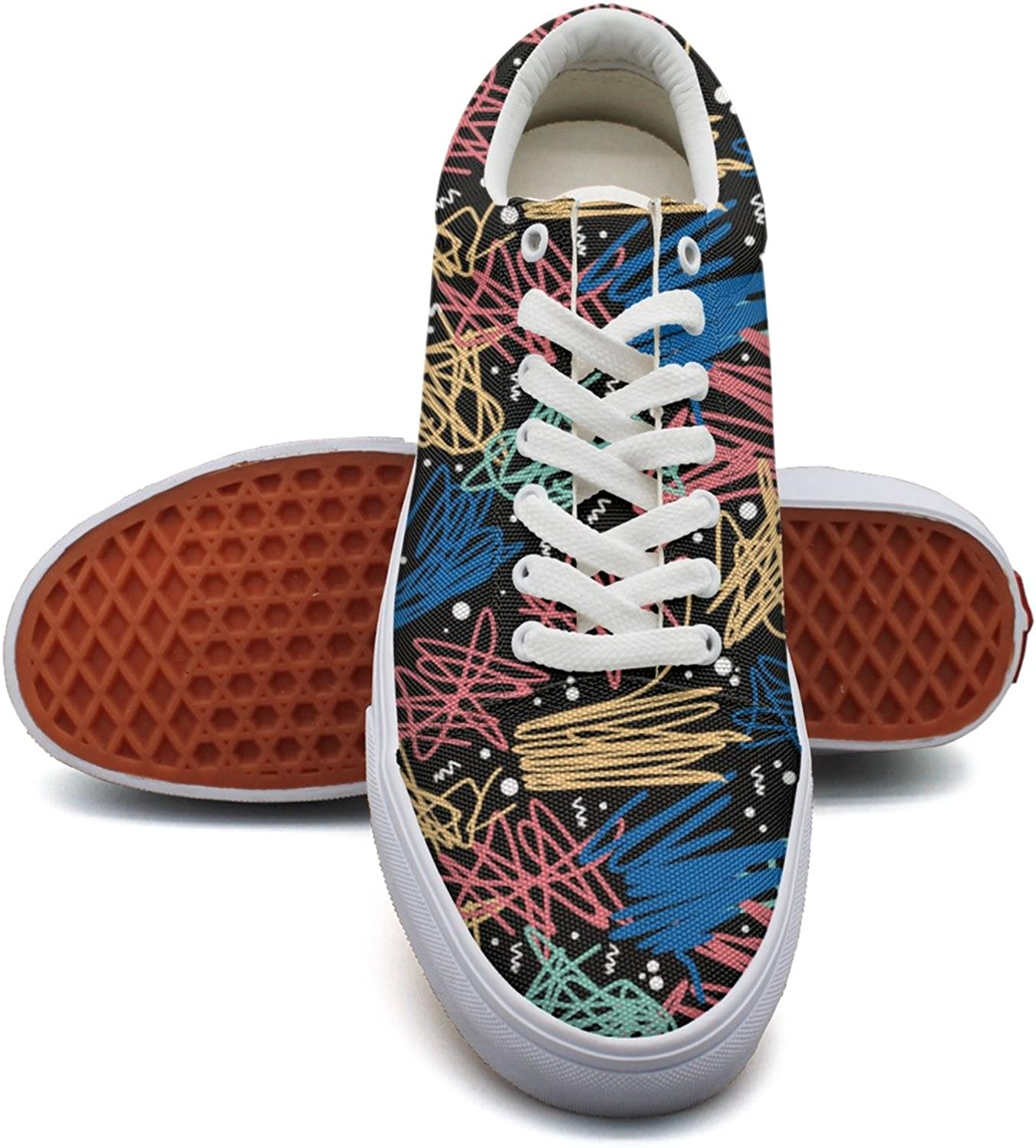 Feenfling How to Draw Graffiti Womens Navy Canvas Deck shoes Low Top Classic Sneakers for Women