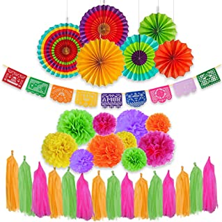 Amabella Fiesta Multi-Color Party Decoration 40 Pcs Set/Kit, Multi-color Hanging Paper Fans, Tissue Paper Pom Pom Flowers, Papel Picado Felt Banner and Colorful Tassels Banner for Birthday Parties, Wedding Décor, Fiesta Theme, Cinco de Mayo, Coco Theme or Mexican Party, Taco, Festival, Party Supplies