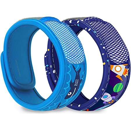 PARA'KITO Mosquito Repellent Pack - 2 Kids Wristbands & 2 Refills (Be Cool + Space)