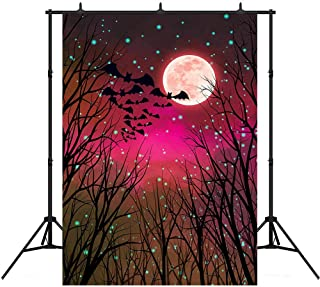 COMOPHOTO Halloween Photography Backdrop 5x7ft Skeleton Bats Purple Red Scary Night Full Moon Party Photo Booth Background...