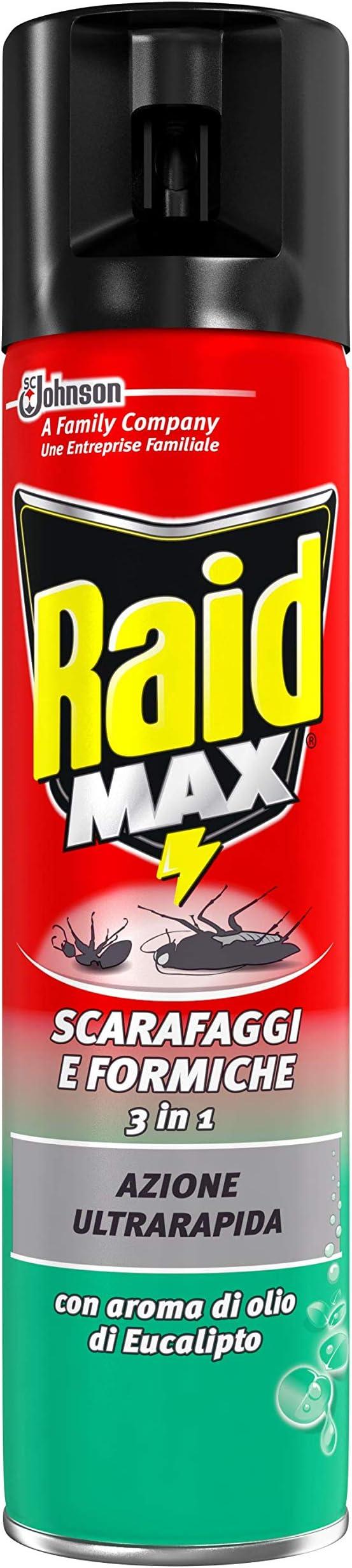 527 opinioni per Raid Max Scarafaggi & Formiche 3 in 1 Insetticida, Eucalipto, 1 Confezione da