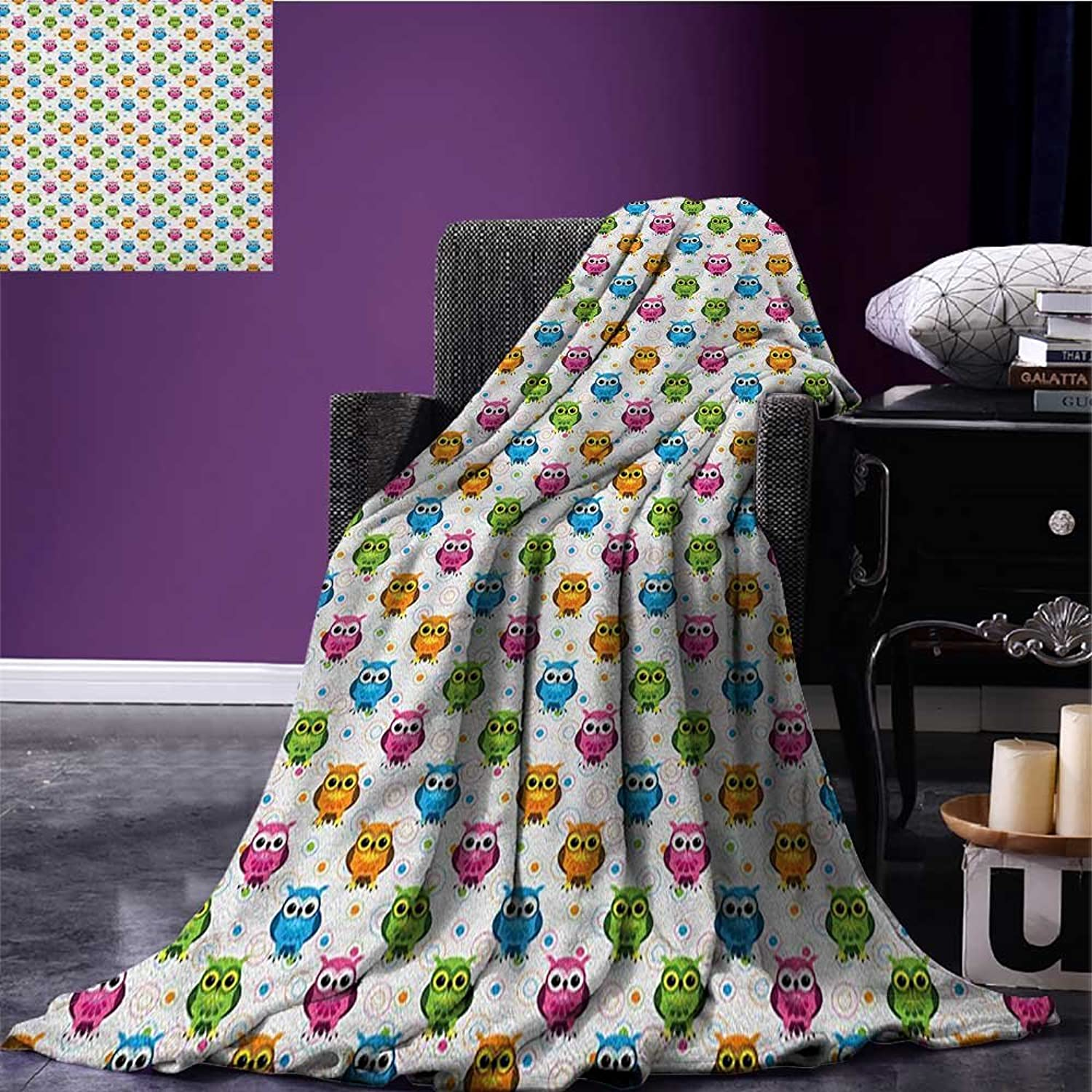 Owls Park Blanket Lively colord Fun Kids Cartoon Happy Mascots colorful Pattern with Circles and Dots Soft Blanket Multicolor Size 59 x35.5