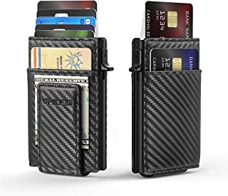 RFID Credit Card Holder Leather Thin Carbon Fiber Wallet for men