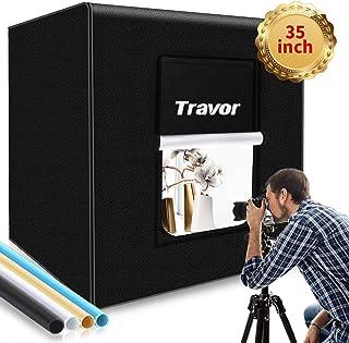 "Photo Box, Travor Photo Studio Light Box 35""/90cm Adjustable Brightness Portable Shooting Tent Table Top Photography Lighting Kit with 126 LED Lights 4 Backdrops (Brightness 15000lm, CRI95+)"