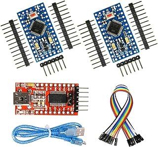 WayinTop 2pcs Pro Mini ATmega32U4 5V 16MHz Micro USB Development Board + FT232RL FTDI Mini USB to TTL Serial Converter Ada...