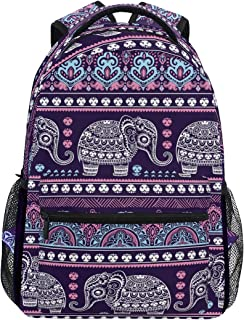 Cute Indian Lotus Ethnic Elephant Backpacks Travel Laptop Daypack School Bags for Teens Men Women