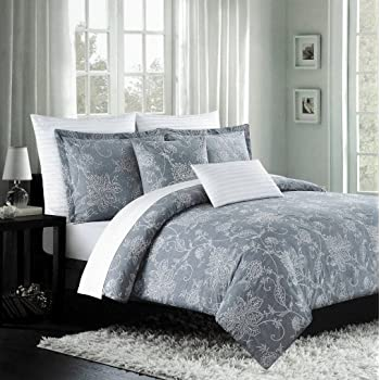 Amazon Com Nicole Miller Luxury Embroidered Duvet Cover Set Gray White Ornate Grey Floral Scroll Design 300tc Cotton 3 Piece Bedding Set Queen Home Kitchen