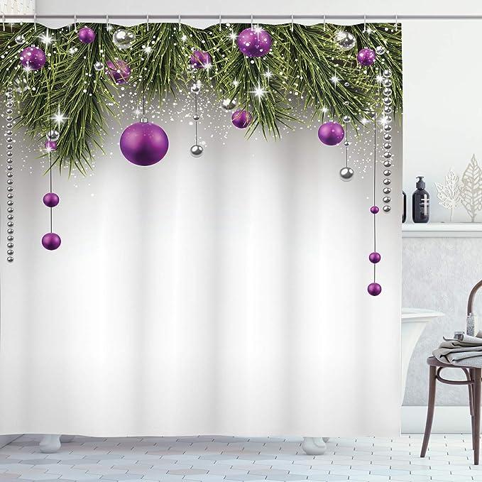 70 Long Ambesonne Christmas Shower Curtain Winter Tree Cloth Fabric Bathroom Decor Set with Hooks