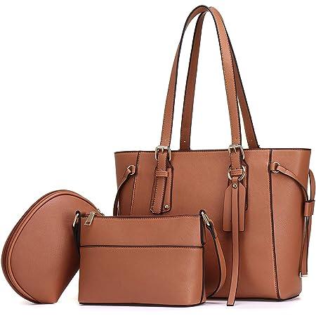 JOSEKO Handtasche Damen Set Taschen Damen Shopper Schultertasche Umhängetasche Geldbörse Elegante PU Tasche Groß 3-teiliges Set für Büro Schule Einkauf Reise Geschenk