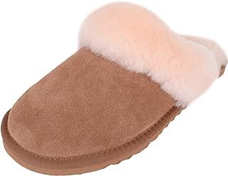 SNUGRUGS Womens Luxury Sheepskin Mule Slipper with Sheepskin Cuff and Light Weight uFLexible Sole