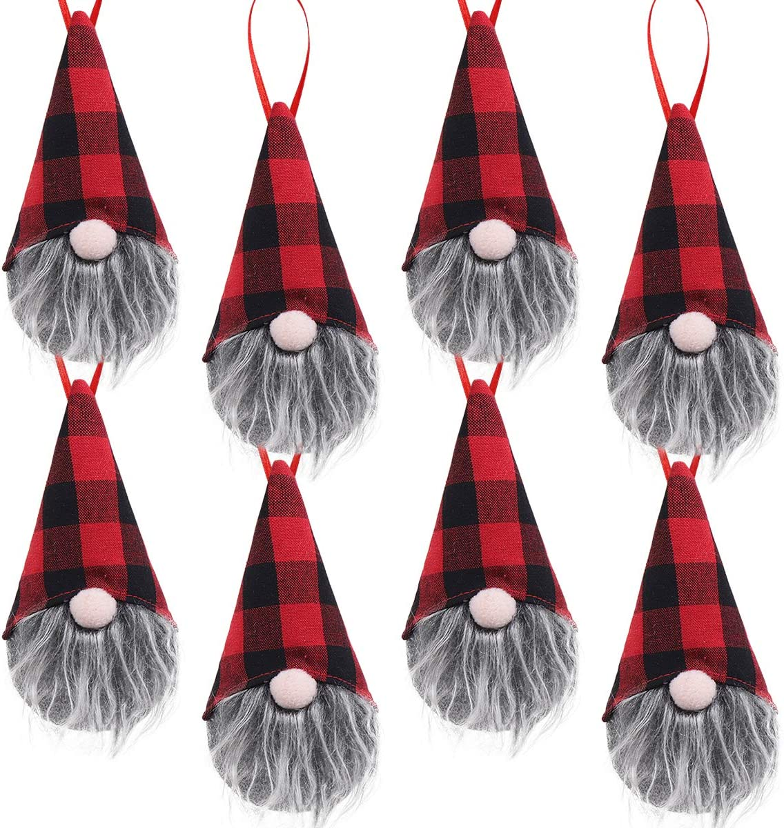 Ivenf Christmas Decorations, 8 Pack 5.5 inches Handmade Plush Tomte Gnome Hanging Decorations, Swedish Scandinavian Santa with Buffalo Check Plaid Hat, Holiday Home Decor, Tree Ornaments Set