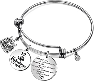 CAROMAY Birthday Cake Bangle Bracelets Lucky Birthstone Adjustable Love Gift for Friends Behind You All You Memories