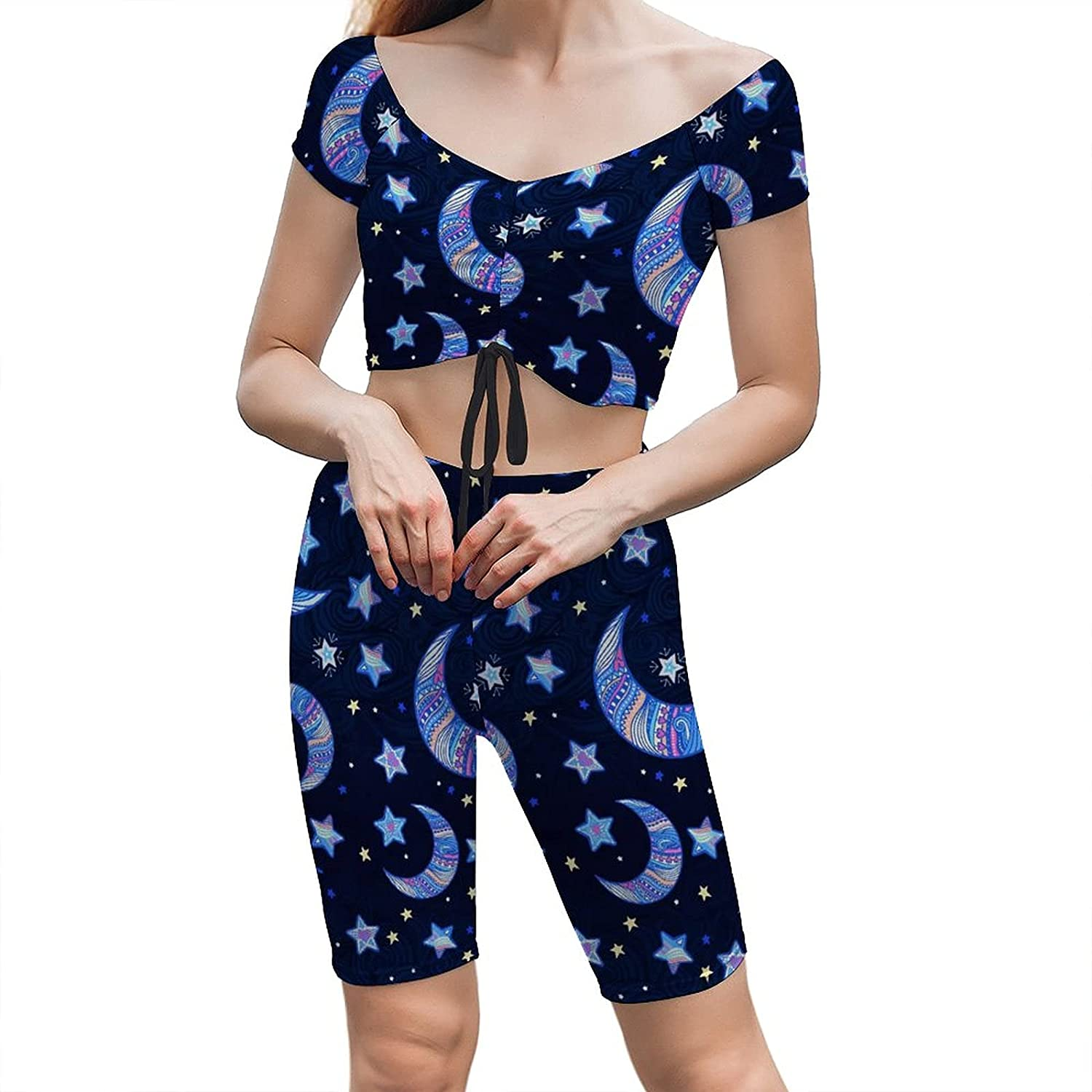 Yoga Outfits For Women 2 Piece Set Clothes Stars Blue S Reservation Moon Gym online shopping