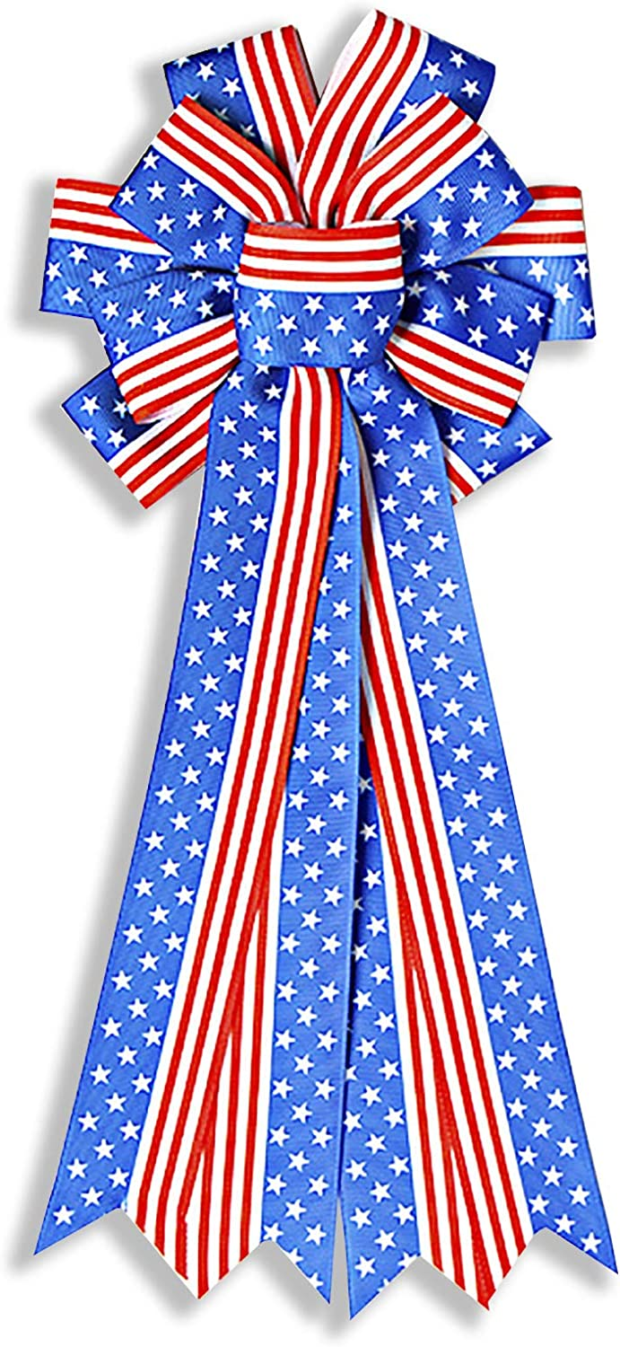 National products Samanter Patriotic Wreath Bow Red Pary Topper Brand Cheap Sale Venue Star Blue Tree
